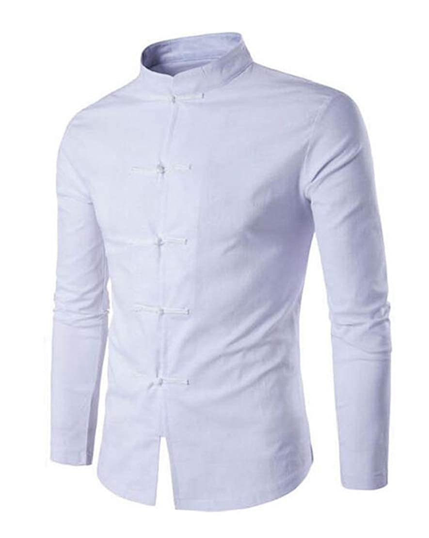 Jotebriyo Men Casual Chinese Solid Color Linen Breathable Shirts