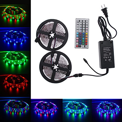 LED Strip Lights Kit, Paymenow 10M RGB 3528 SMD 600LED Flexible Light Strip Lamp String lights with 44Key IR Remote Controller and 12V 5A Power Supply for Home, Christmas Party Decoration - Light Side Mount Fluorescent Strip