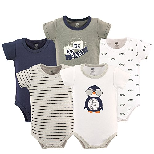 Hudson Baby Baby Infant Cotton Bodysuits, Chill Dude Pack, 0-3 Months by Hudson Baby