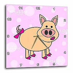 3dRose dpp_6294_1 Wall Clock, Pink Piggy Design Happy Girl Pig, 10 by 10-Inch