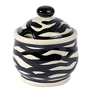 Traditional Polish Pottery, Handcrafted Ceramic Lidded Sugar Bowl with a Spoon Slot (290ml / 10 fl oz), Contemporary Pattern, C.102.ZEBRA