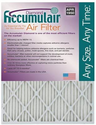 MERV 13 4 Pack Accumulair Diamond 1-Inch Filter Actual Size 19x27x1