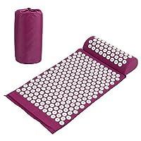 Amzdeal Kit Tapis d'acupression 67x41cm avec Oreiller Portatifs 37x15x10cm et Un Sac en Coton--Violet