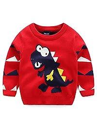 Yollmart Little Boys' Winter Cotton Crewneck Cartoon Pullover Knitwear Sweaters