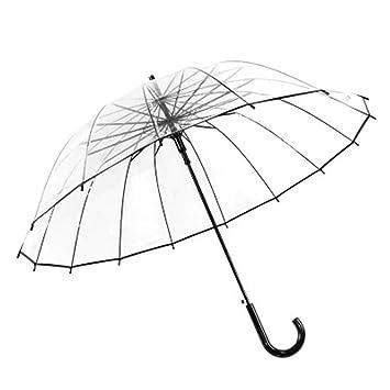 HMKLDFTY Mango Largo Grande 16 Costilla Transparente Paraguas Hombre Lluvia Femenina Sólido Automático Creativo Creativo Claro lluvioso, Mango doblado: ...
