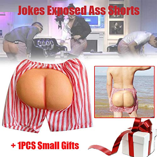 Jokes Exposed Ass Shorts Universal Funny Gadgets Prank Antistress Halloween Gag Trick Party Favors Anti Stress for $<!--$11.37-->