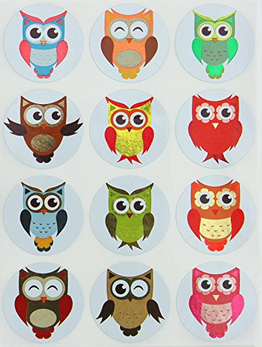 Colored Owl metallic sticker perfect for arts, prizes, rewards, school and games. Great for kids and teachers to use in the classroom - 1.5 inch diameter (37mm) 5 sheets - 60 pack by Royal Green