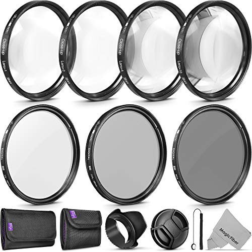 58mm Altura Photo Professional UV CPL ND4 Lens Filter and Close-Up Macro Accessory Kit for Lenses with a 58mm Filter Size