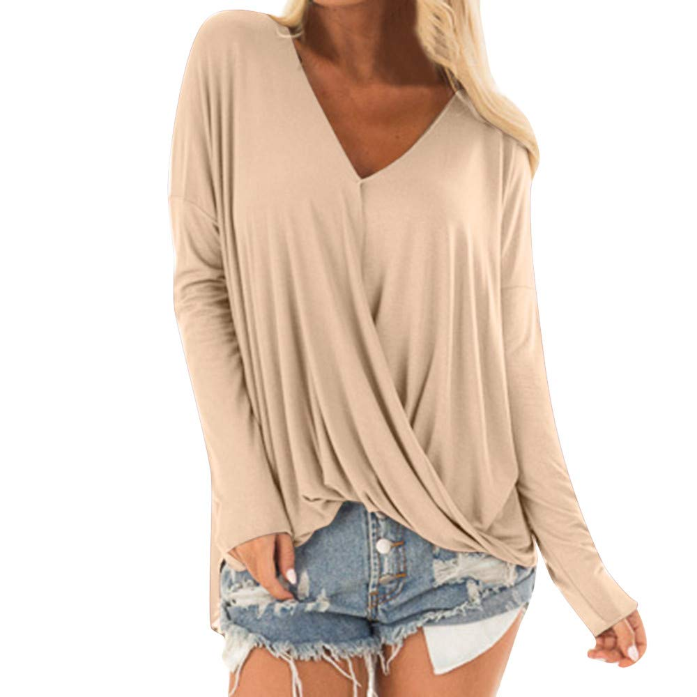 Plot Damen Casual Lose Einfarbig Lang Ärmel V Ausschnitt T Shirt Sweatshirt Top Bluse Unregelmäßiger Saum