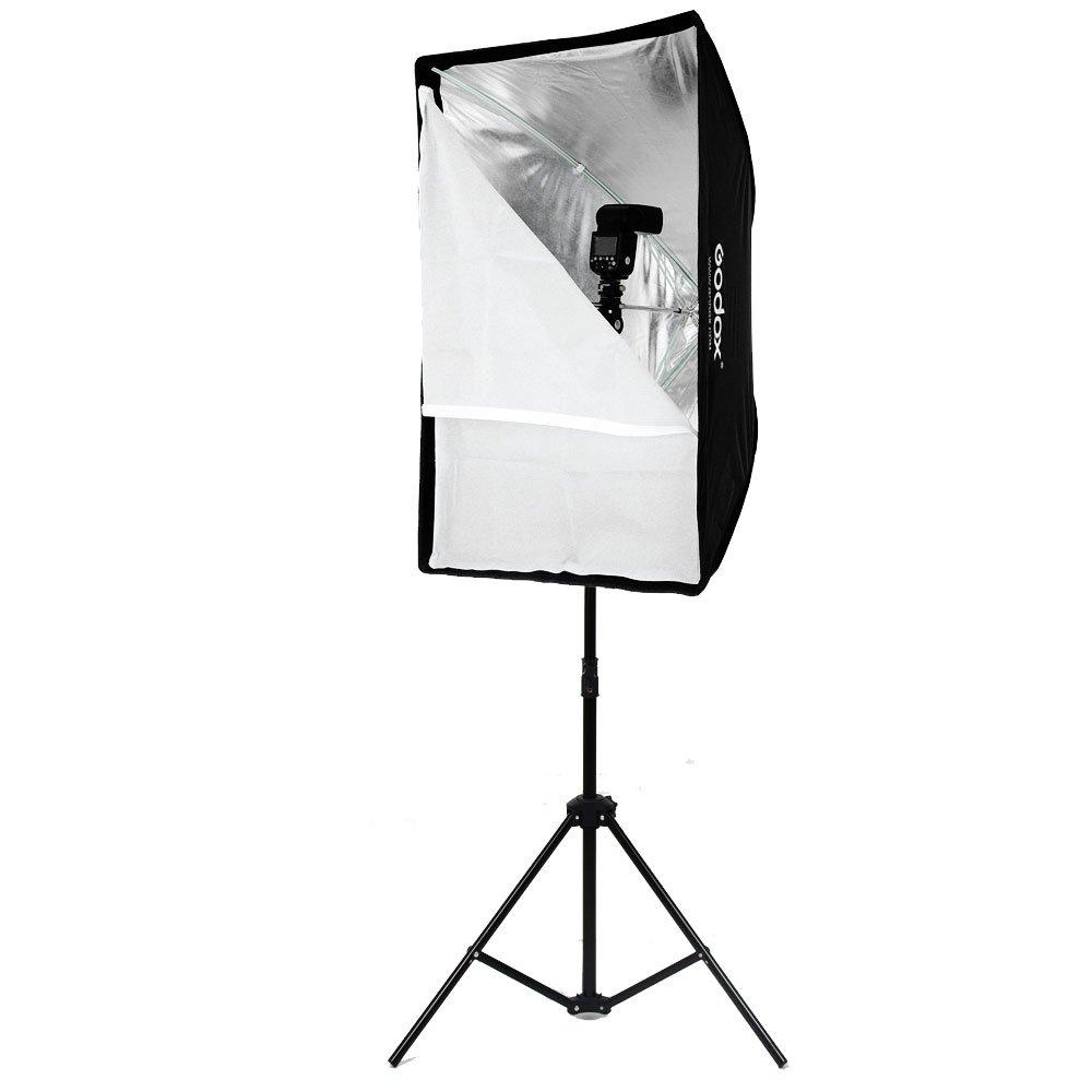 Godox Portable 60x90cm 24'' 35'' Umbrella Photo Softbox Reflector for Flash Speedlight 2m Light Stand + Hot Shoe Adapter by Godox