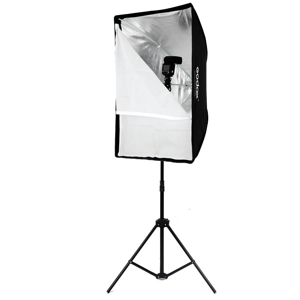 Godox Portable 60x90cm 24'' 35'' Umbrella Photo Softbox Reflector for Flash Speedlight 2m Light Stand + Hot Shoe Adapter