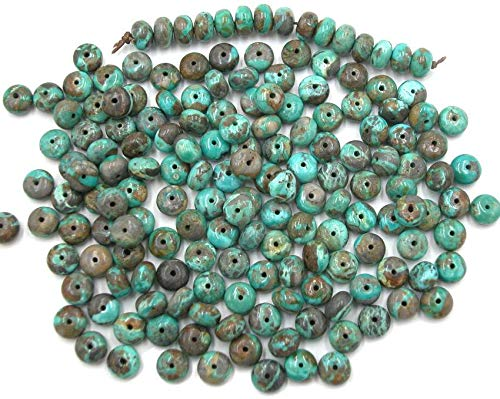 Fox Heavy Matrix Turquoise 8mm Rondell Beads, (pkg of 9 - Matrix Opal Cab