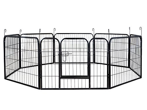 24″ Tall 16 Panels Metal Pet Dog Puppy Cat Exercise Fence Barrier Playpen Kennel Review