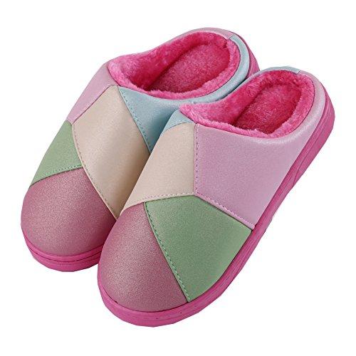 Puntadas algodón zapatillas de casa-invierno grueso felpa Calentar Zapatos Botín con nieve Rose