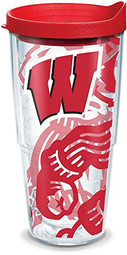 - Tervis 1289448 NCAA Wisconsin Badgers Tumbler With Lid, 24 oz, Clear