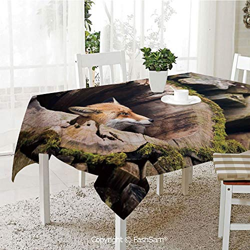 Premium Waterproof Table Cover True Fox Vulpes Inside Wood Log Holes Exotic Furry Creature Wildlife Creature Design Washable Table Protectors for Family Dinners(W55 xL72) ()