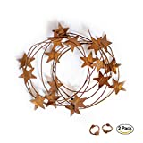 RUSTY TIN BARN STAR GARLAND SET - Long 12' TWO PACK metal rustic primitive country banner stars wire garland indoor outdoor Christmas thanksgiving party decor. Great on mantle, table, staircase, porch