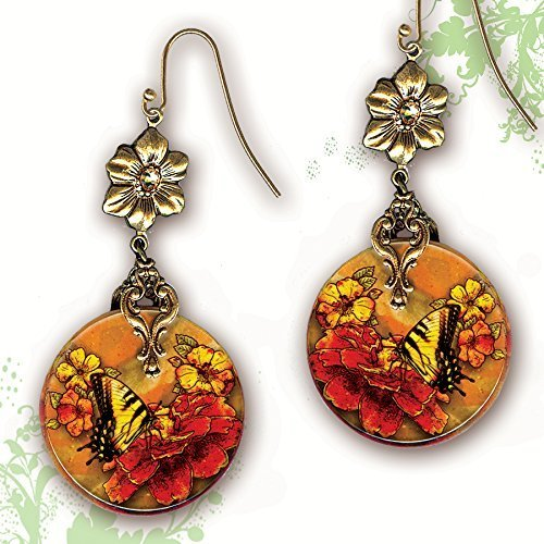 Tiger Swallowtail Butterfly Earrings - Two Sided Glass Art - Nouveau Jardin Collection - Tiger Swallowtail Floral Profusion