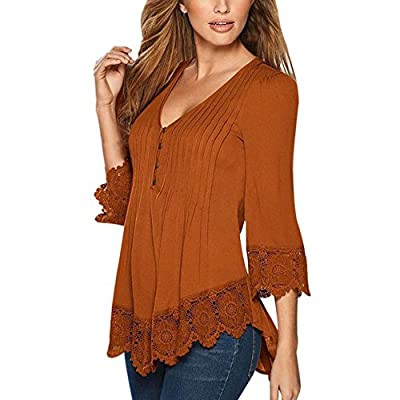 Weixinbuy Womens V Neck Tops Lace 3/4 Sleeve Pullover Blouse