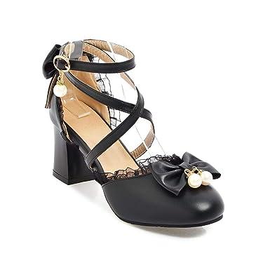 7ce4471448 Nuoqi Sweet Lolita Cosplay Round Toe Tea Platform High Chunky Heel Ankle-High  Shoes (