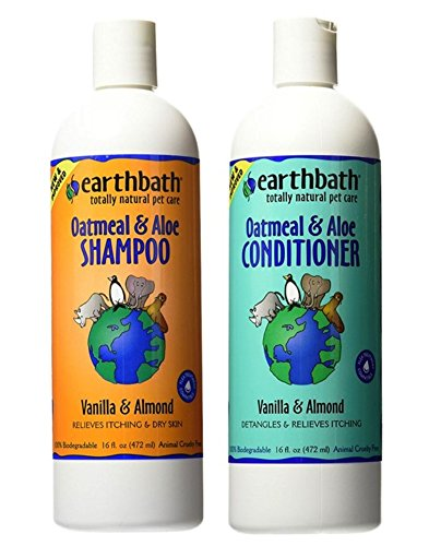 Earthbath Dog Cat Vanilla & Almond Grooming Bundle - (1) Each: Oatmeal & Aloe Shampoo and Conditioner, 16 ounces