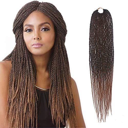 Senegalese Twist Crochet Hair 8 Packs 18 inches Short Braids Small Havana Mambo Twist Crochet Braiding Hair Extensions Synthetic High Temperature Senegalese Twists Hairstyles (8 Bundles, 1b/30#)