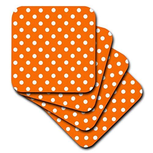 - 3dRose CST_24687_1 Orange and White Polka Dot Print-Soft Coasters, Set of 4