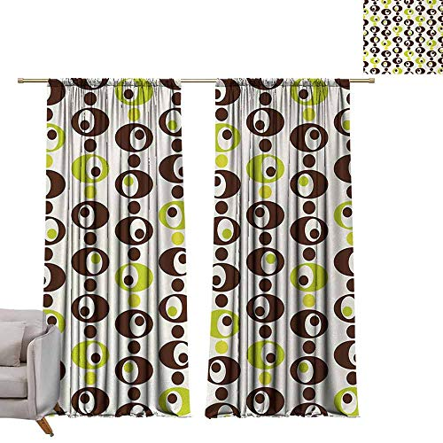 (Customized Curtains Geometric Sixties Ornamental Vintage Circles Polka Dots Trippy Design Noise Reducing W96 xL108 Apple Green Chestnut Brown Cream)