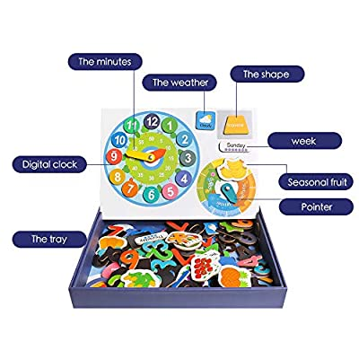 JCREN Wooden Magnetic Number Math Jigsaw Puzzle Flash Cards for Toddler,Magnet Board Preschool Counting Learning Educational Kids STEM Montessori Toys Puzzles Gift for 2 3 4 Year Olds Boys Girls: Toys & Games