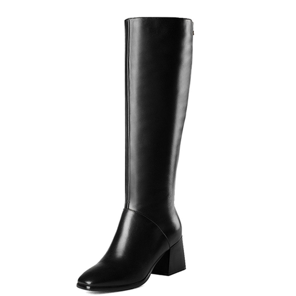 Nine Seven Genuine Leather Women's Square Toe Chunky Heel Handmade Knee High Boot (6.5, black)
