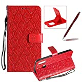 Red Leather Case for Samsung Galaxy A40,Strap Wallet Case for Samsung Galaxy A40,Herzzer Bookstyle Classic Elegant Pretty Flower Design Magnetic Stand Flip Leather Case with Soft TPU