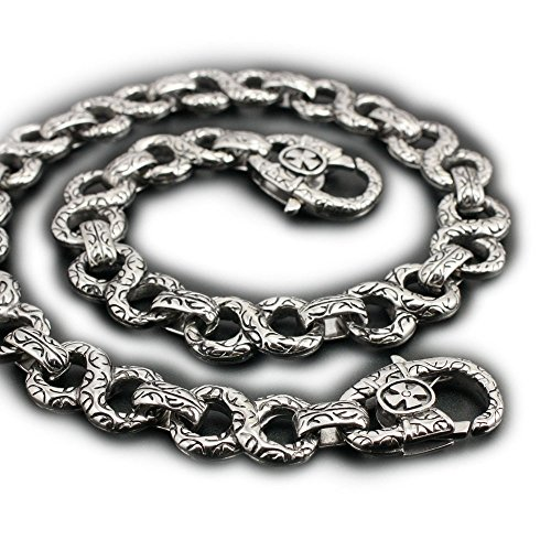 14'' ~ 36'' 316L Stainless Steel Gothic Cross Mens Biker Wallet Chain 4B006WC Claps 3P6 (36 inches) by LINSION