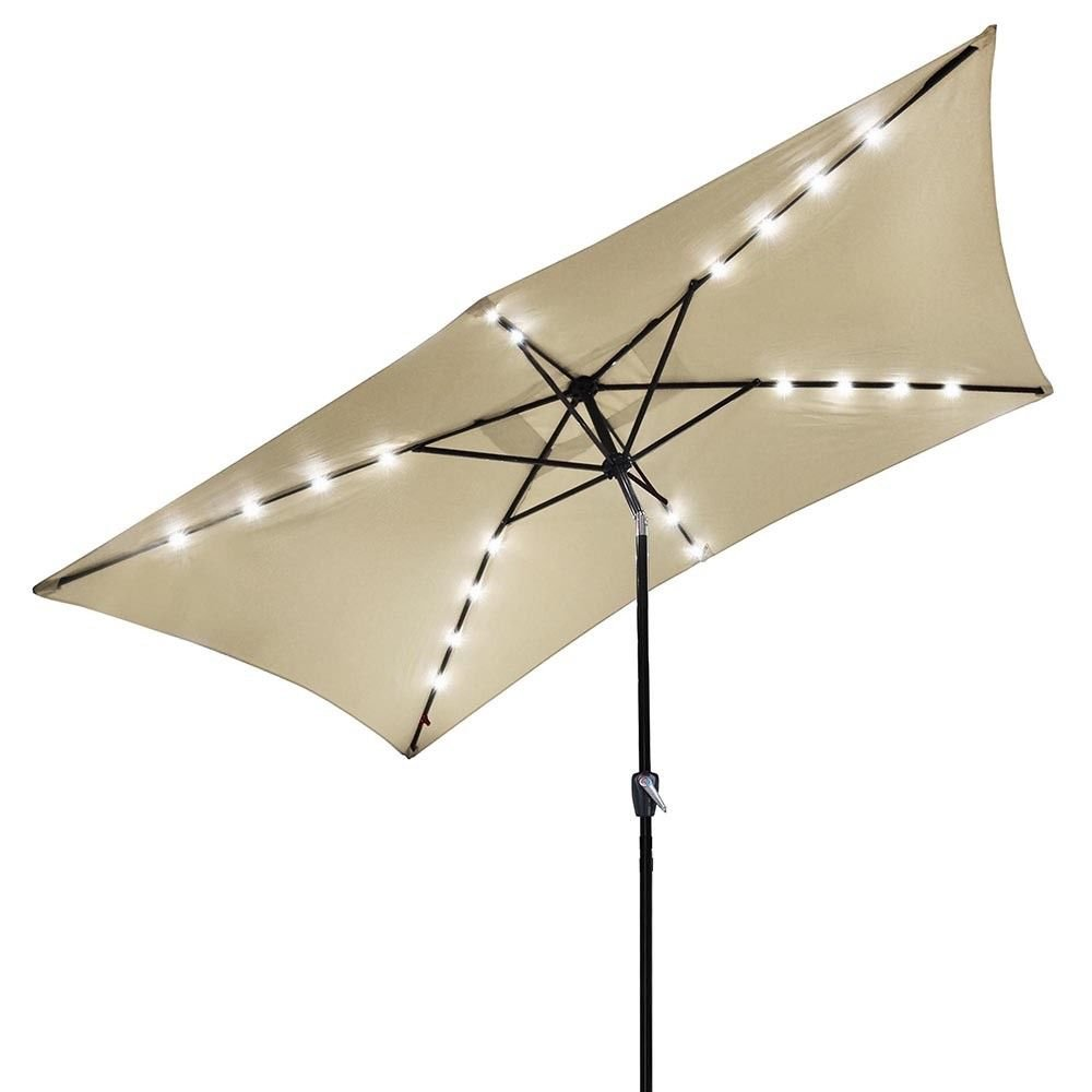 LamoreStore 10'x6.5' Patio Outdoor Deck Pool Cafe Modern Attractive Aluminum Umbrella Solar LED Light Crank Tilt Beige Cover Eye Catching Bright Lights Nice Luxury by LamoreStore