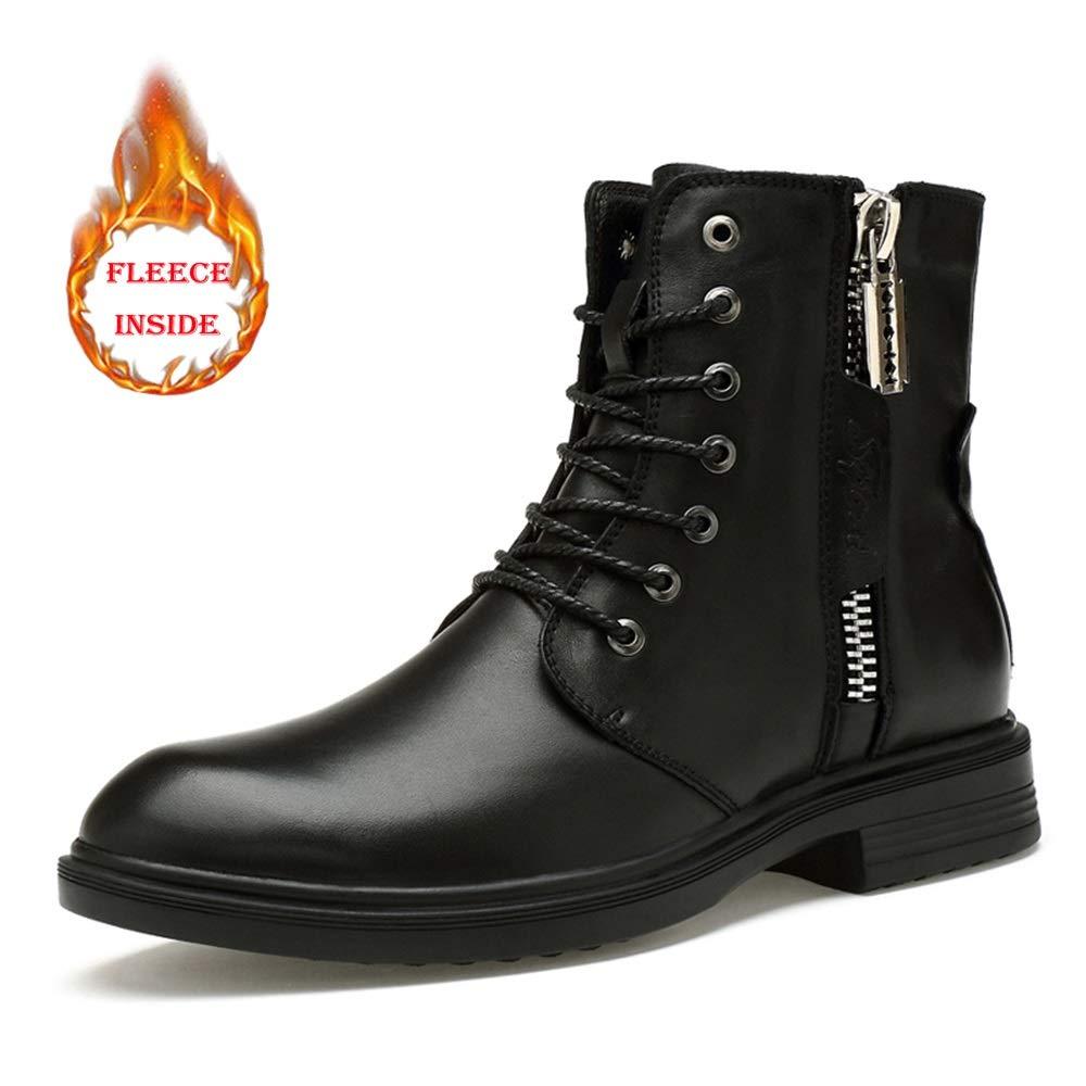 Ruanyi Mode Stiefel, Casual Persönlichkeit Reißverschluss Winter Fleece Inside High Top Stiefel (konventionell optional) für Männer (Farbe   Warm schwarz, Größe   37 EU)