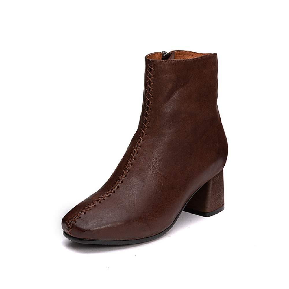 Fuxitoggo Ankle braun Stiefel Damen Reißverschluss Block Lederschuhe (Farbe   Braun, Größe   EU 37)