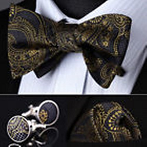 [Mondaily DL04Z Gold Gray Paisley Men Silk Self Bow Tie handkerchief Cufflinks set #PPTE4381] (Pug Batman Costume)