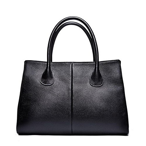 women genuine leather famous brand Tote bags(black) - 1