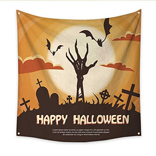 Tapestry Colorful Halloween Banner Cemetery Graveyard Skeleton Hand from Ground Party Invitation Large tablecloths Wall Tapestry 47W x 47L Inch