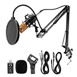 Voilamart BM-800 Professional Studio Broadcasting Recording Condenser Microphone & Adjustable Microphone Suspension Scissor Arm Stand with Shock Mount and Mounting Clamp Kit & USB Audio Adapter