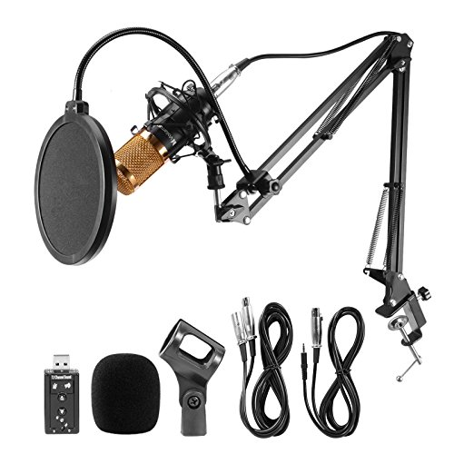 Voilamart BM-800 Professional Studio Broadcasting Recording Condenser Microphone & Adjustable Microphone Suspension Scissor Arm Stand with Shock Mount and Mounting Clamp Kit & USB Audio Adapter by voilamart