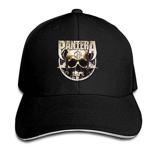 (UrsulaA Adult Pantera Cowboys From Hell Skull Sticker Sandwich Bill Baseball Cap Hat Black)