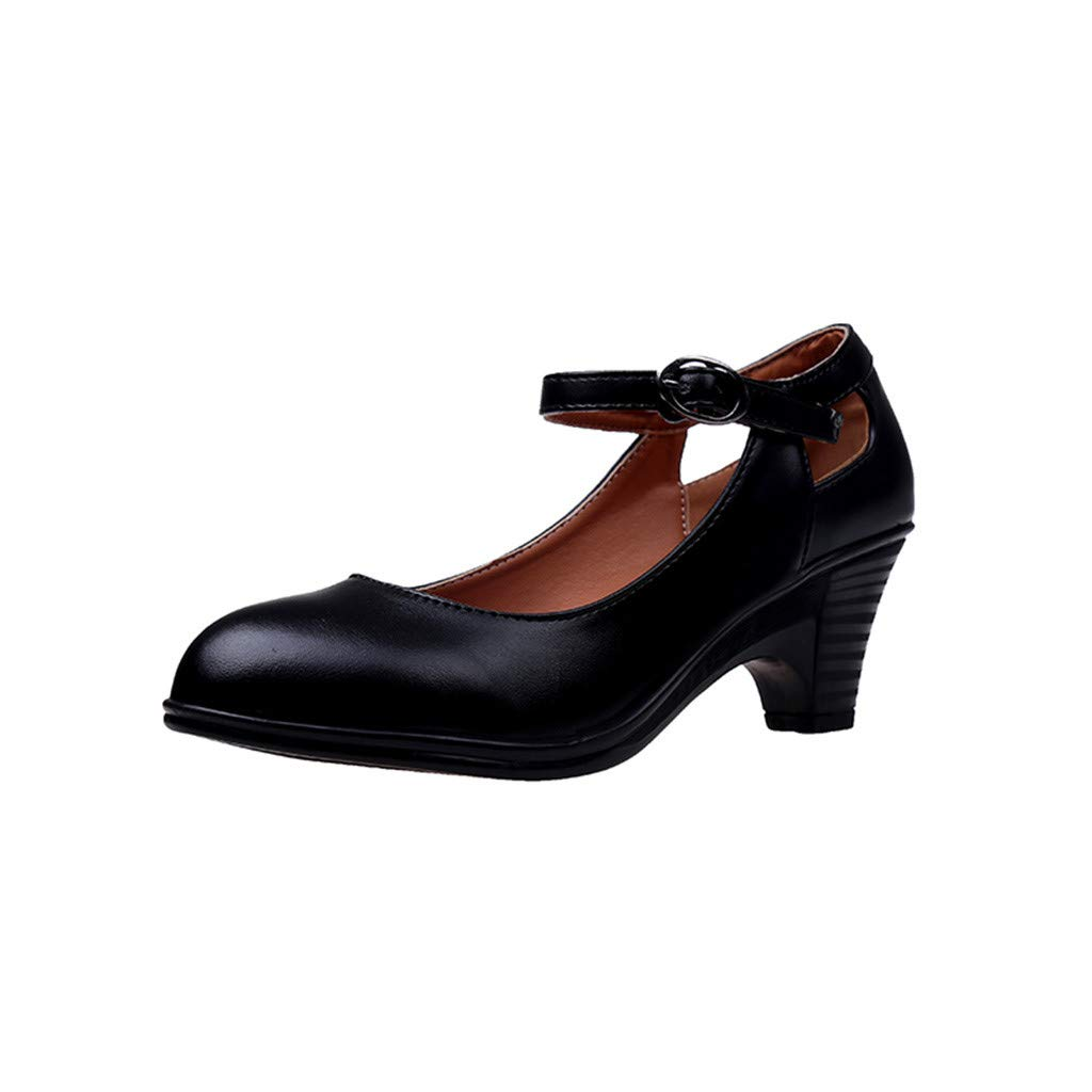 Womens Round Toe Shoes - Vintage Ankle Strap Buckle Cut Out Square Heel Closed Toe Mary Jane Pumps Dress Shoes (Black, US:7)