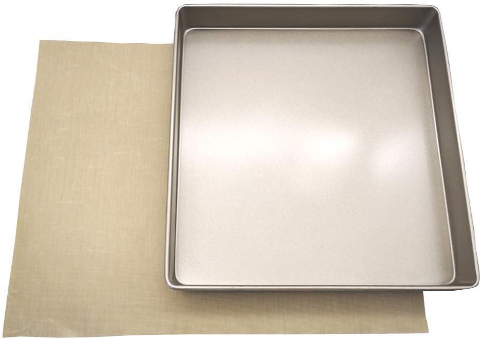 POKALI 11x11x1.5inch Carbon Steel Square Nonstick baking sheet cake pan,Angel Food Cake and Cheesecake Bakeware Pans,Square Bakeware Roasting Tray +1Reusable Baking Sheet Liners(11inch)