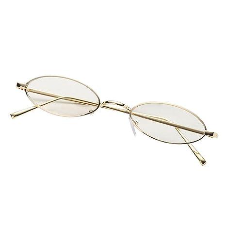 AOLVO - Gafas de Sol ovaladas pequeñas, diseño Vintage con Marco de Metal Retro, Redondas, HD, para Mujeres y niñas C6