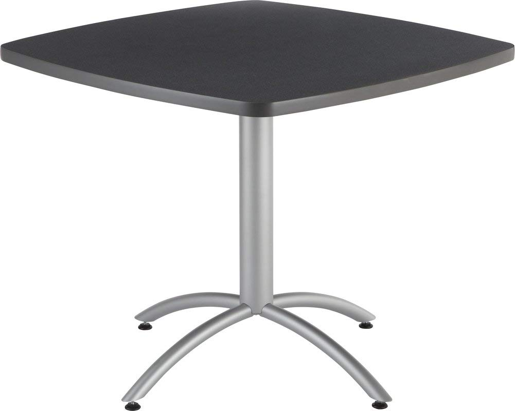 Steel Base Dining Table with Adjustable Feet - Square Dining Table with Wood Top - Graphite Granite