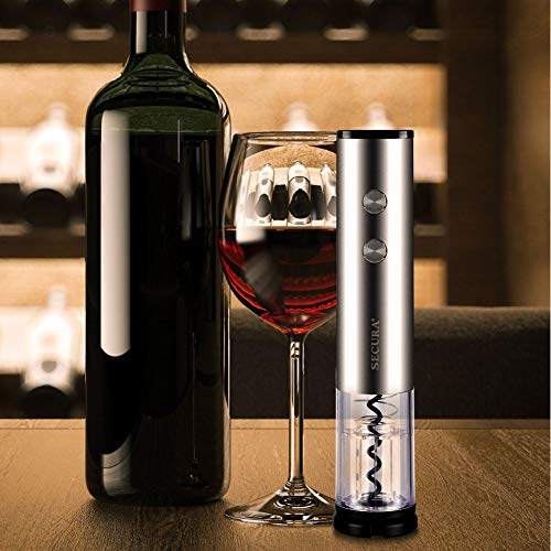Secura Electric Bottle 4A Battery Powered Wine Opener with Foil Cutter, Stainless Steel, Cordless (Silver) by Secura (Image #5)