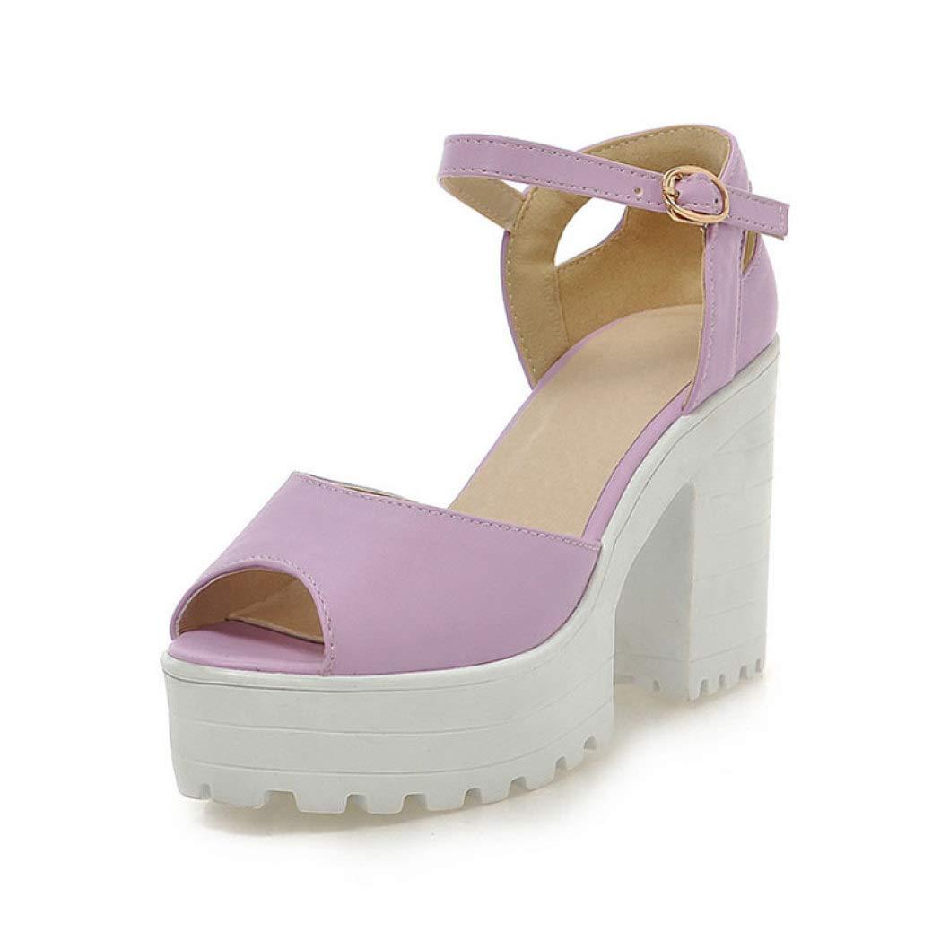 Purple JOYBI Women Sexy Peep Toe Sandals Comfy Slip On Summer Buckle Leather Thick Chunky Platform Heels Sandal