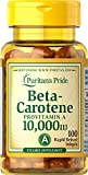 Puritans Pride Beta-Carotene 10,000 IU Softgels, 100 Count