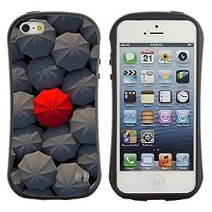 Fuerte Suave TPU GEL Caso Carcasa de Protección Funda para Apple Iphone 5 / 5S / Business Style Deep Umbrella Red Pattern