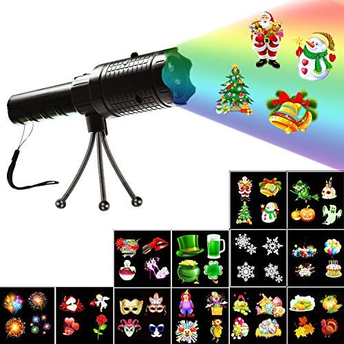 Christmas Decorative Projector Lights, Holiday Decoration Handheld Flashlight, 12 Slides Projector Light with Dynamic and Static Images for Indoor Outdoor Party Birthday Halloween Xmas Kids Gift Toys